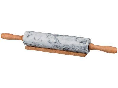 Скалка мраморная белая с деревянными ручками, 46 см.