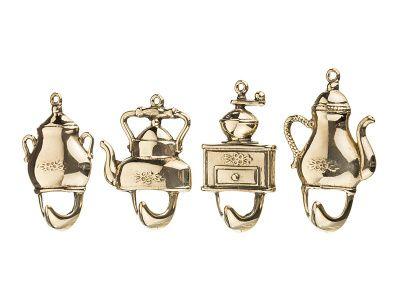 """Набор настенных крючков """"чайники"""" из 4 шт. высота 7,8,9 см."""