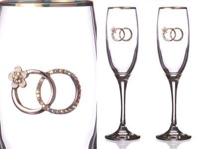 Набор бокалов для шампанского из 2 шт.с золотой каймой 170 мл.