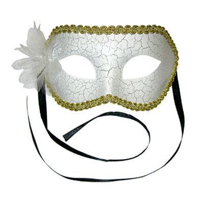 Карнавальная маска Мистерия белая с цветком