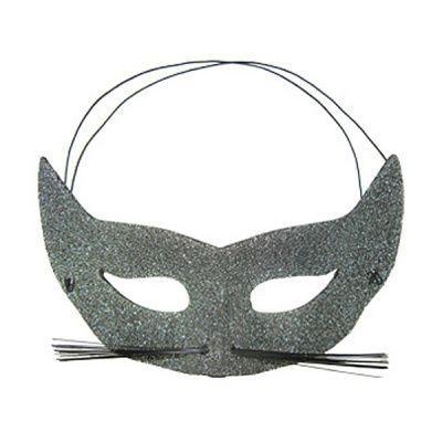 Карнавальная маска Кошка серебряная