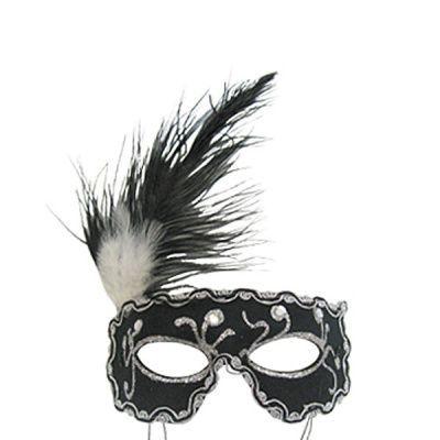 Карнавальная маска Ночь черная с перьями