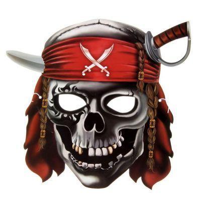 Маска бумажная Череп пирата 27 х 25см